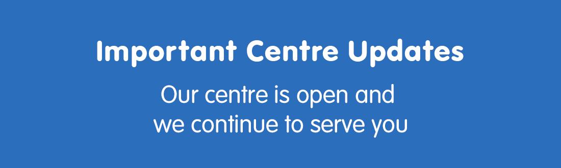 Important centre updates web banner