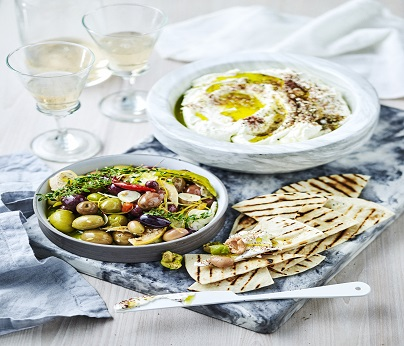 MARCH001 labne, marinated olives and grilled flatbread web